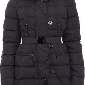 Authentic Moncler Genette Belted Puffer w Fur Hood